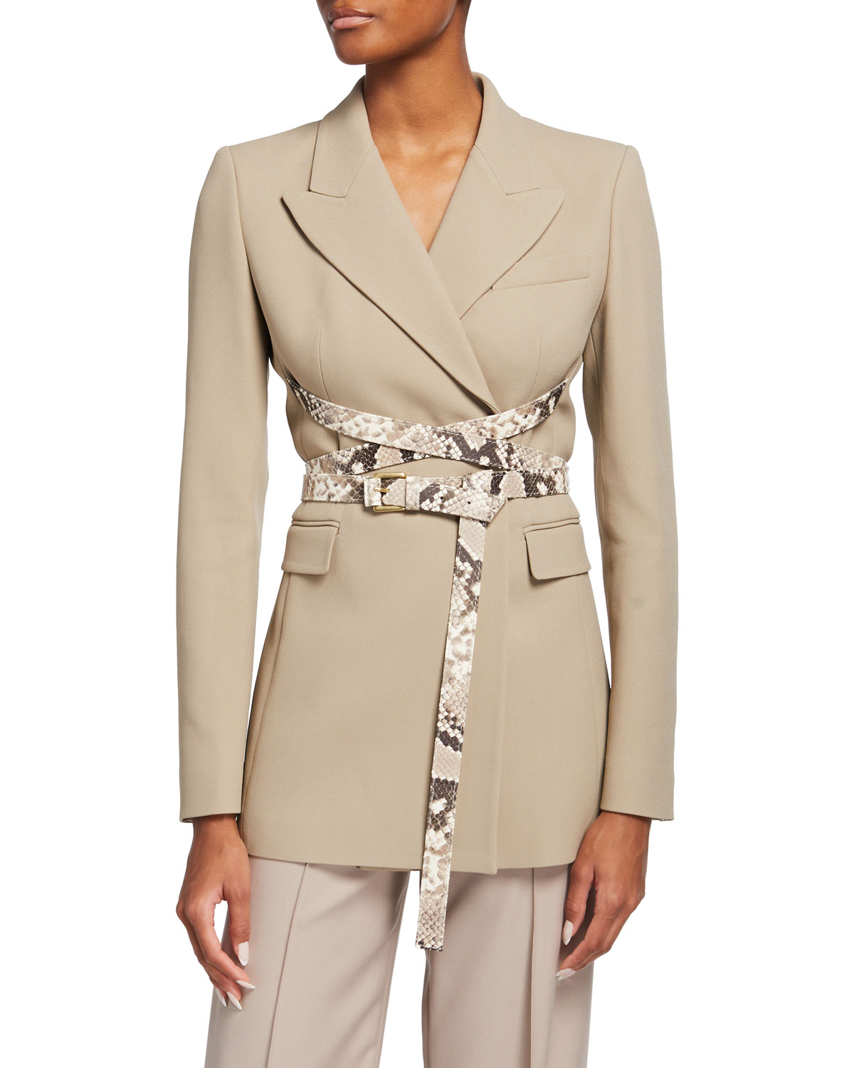 Michael Kors PYTHON LEATHER STRAPPED BLAZER