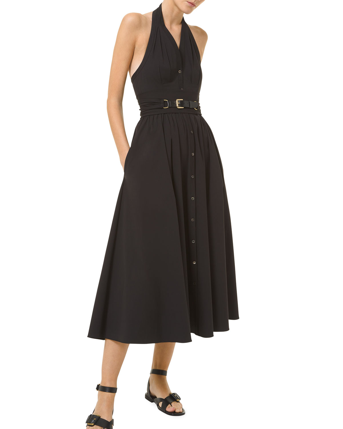 Michael Kors BELTED HALTER A-LINE SHIRTDRESS