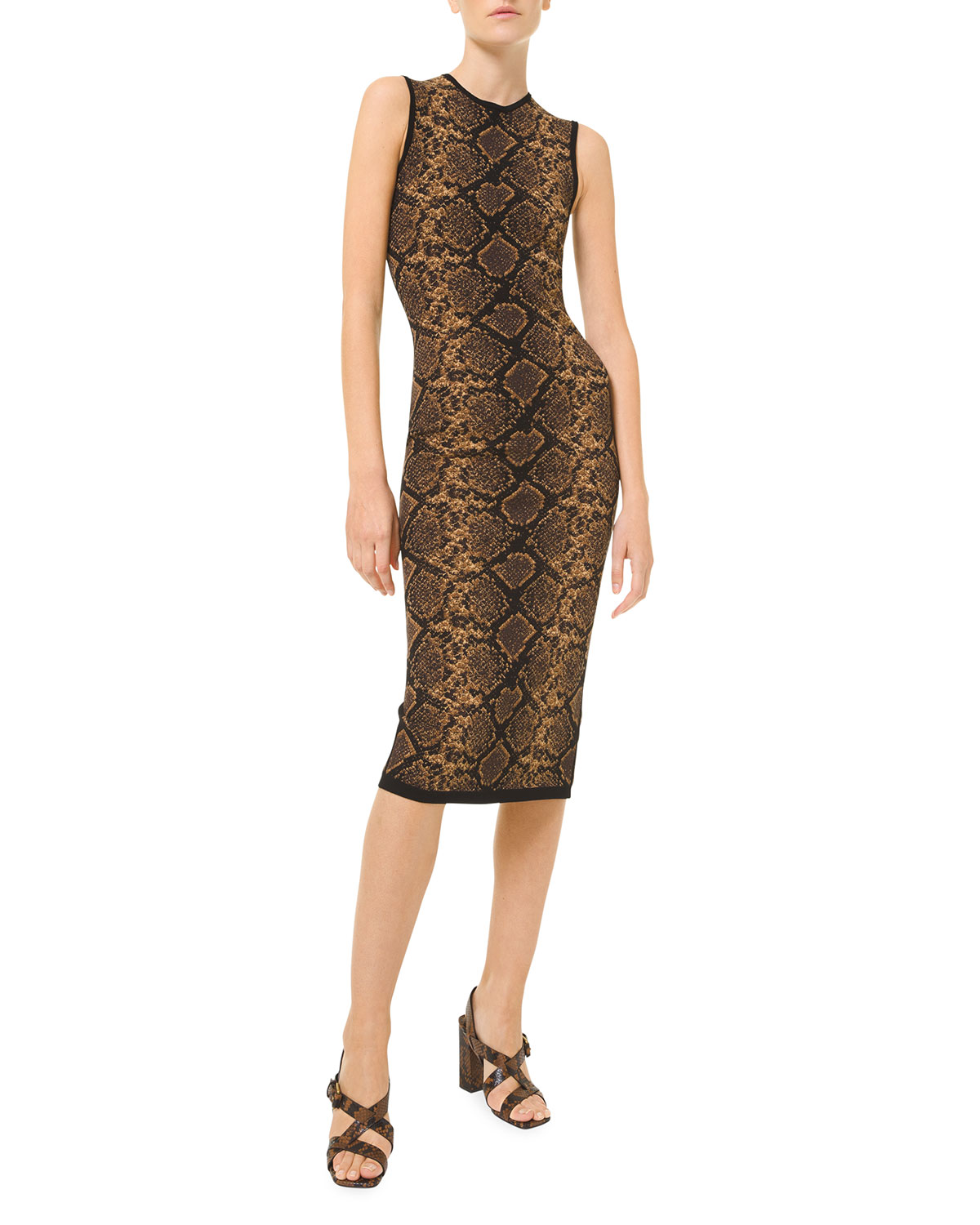 Michael Kors PYTHON KNIT JACQUARD SHEATH DRESS