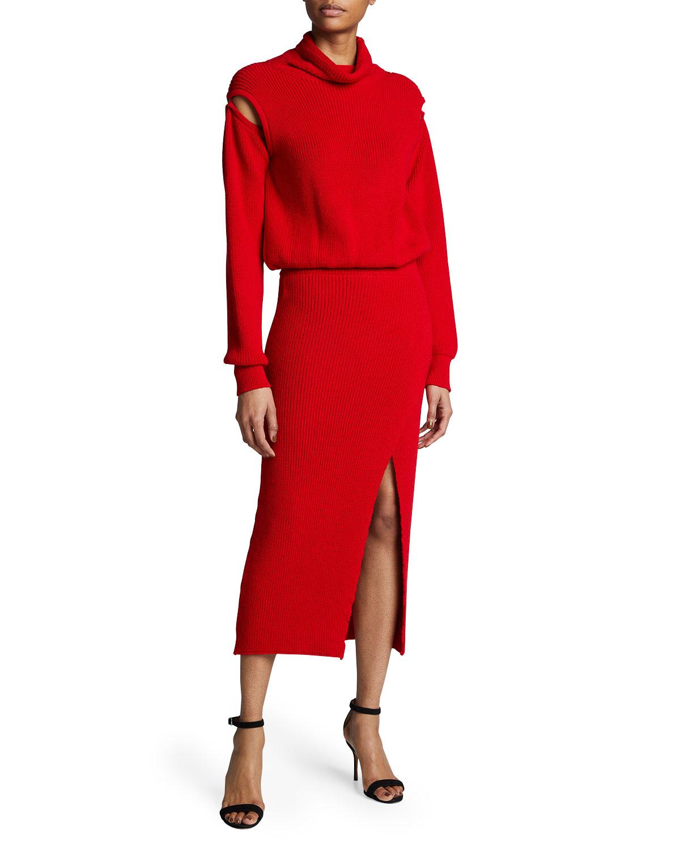 Cowl-Neck Knit Cold-Shoulder Midi Dress