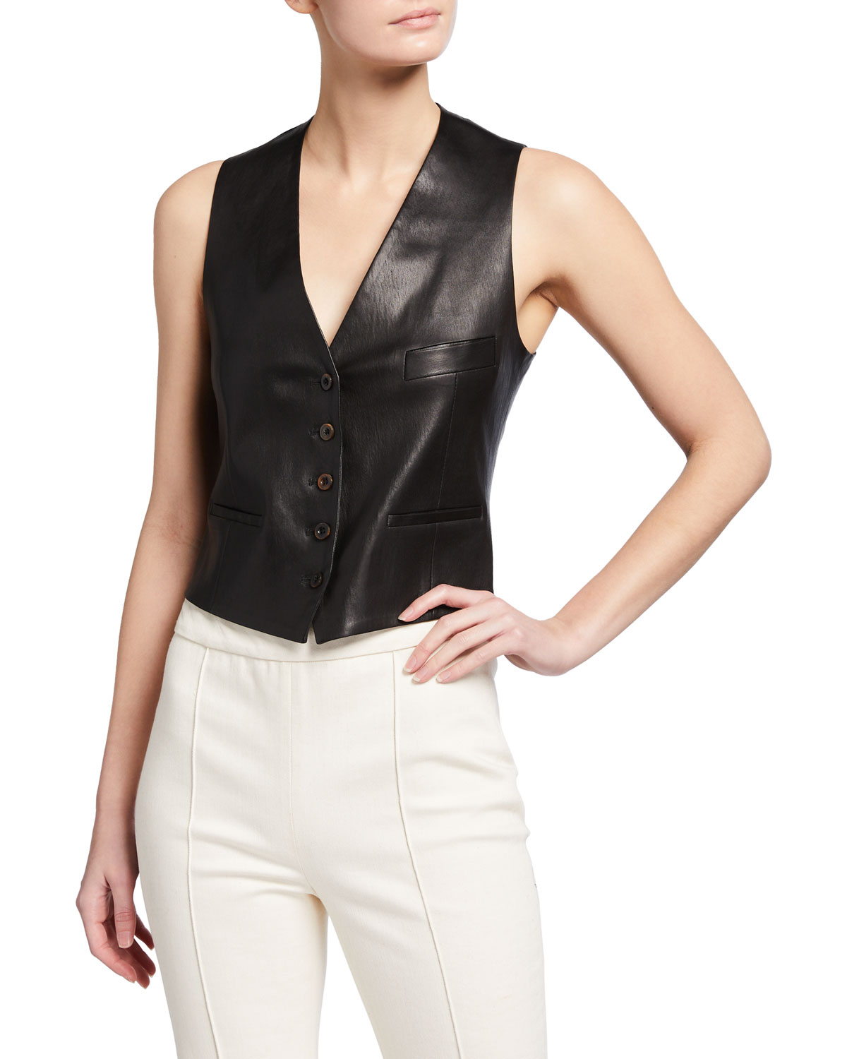 Rosetta Getty Leathers CROPPED LEATHER VEST
