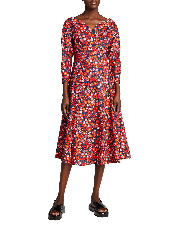 Floral-Print 3/4-Sleeve Cotton Dress