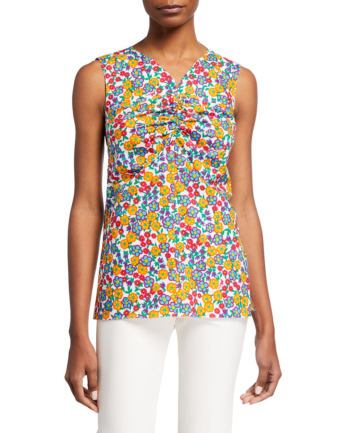 Flower-Print Ruched Tank Top