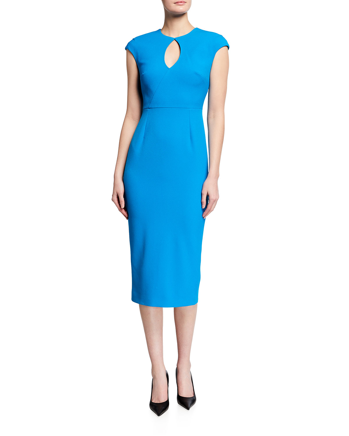 Roland Mouret Linings CHISWELL KEYHOLE-FRONT CREPE MID DRESS W/ FACE MASK