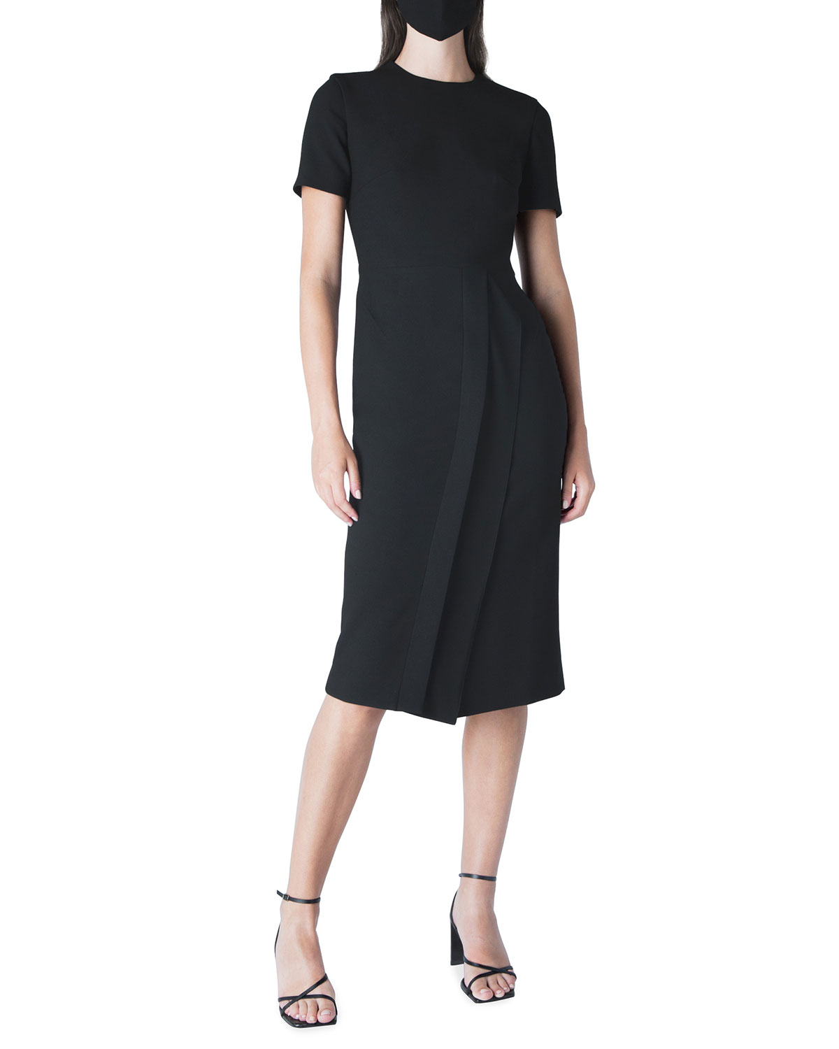 Roland Mouret Linings PRIMLEY DOUBLE PLEATED SHEATH MIDI DRESS W/ FACE MASK
