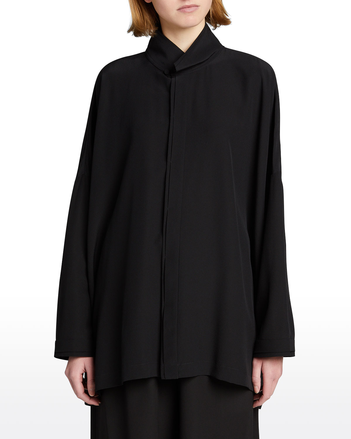 Wide Longer-Back Double Stand-Collar Shirt