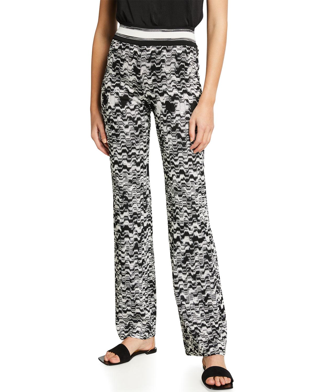 Zigzag-Print Straight-leg Knit Pants