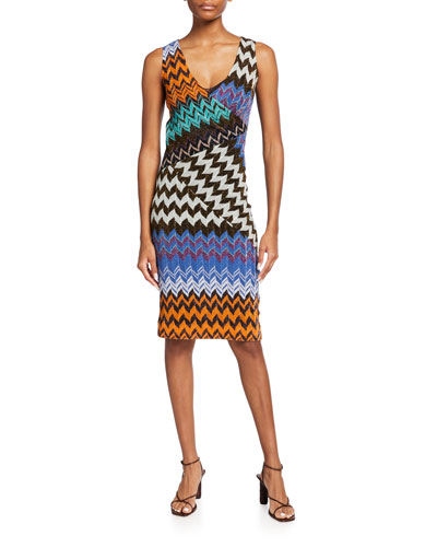 M Missoni Womens Solid Zig Zag Vneck Dress