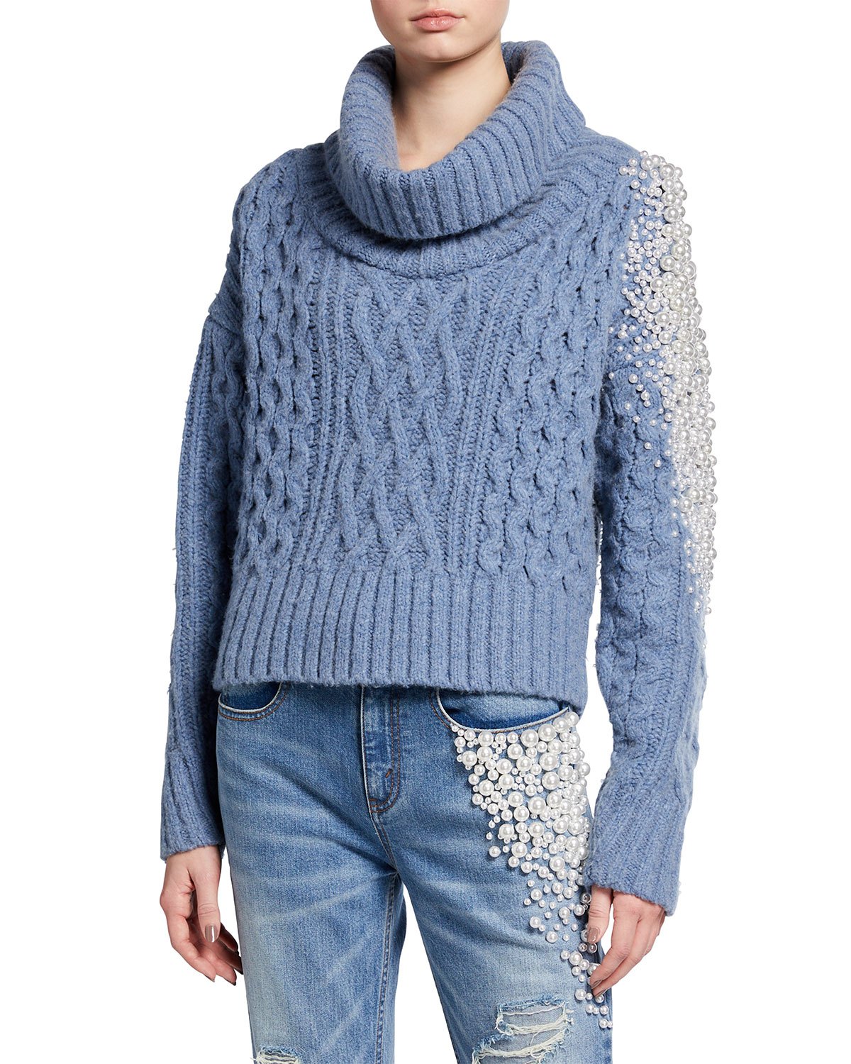 Pearly Stud Cable-Knit Sweater