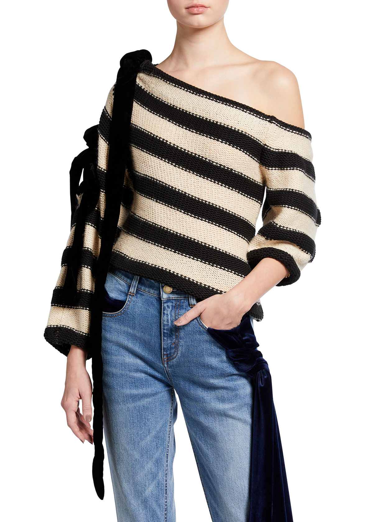 Balti Striped Off-The-Shoulder Knit Sweater