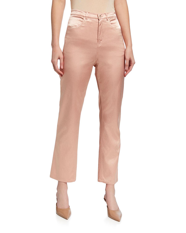 Shiny Slim-Leg Cropped Jeans