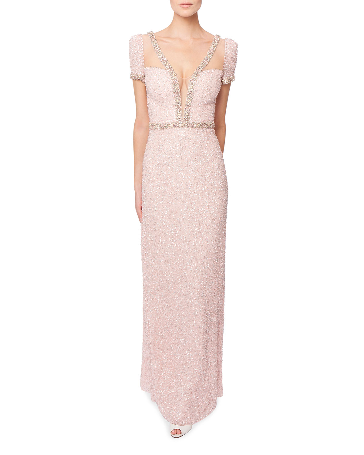 Jenny Packham BEADED ILLUSION SHORT-SLEEVE COLUMN GOWN