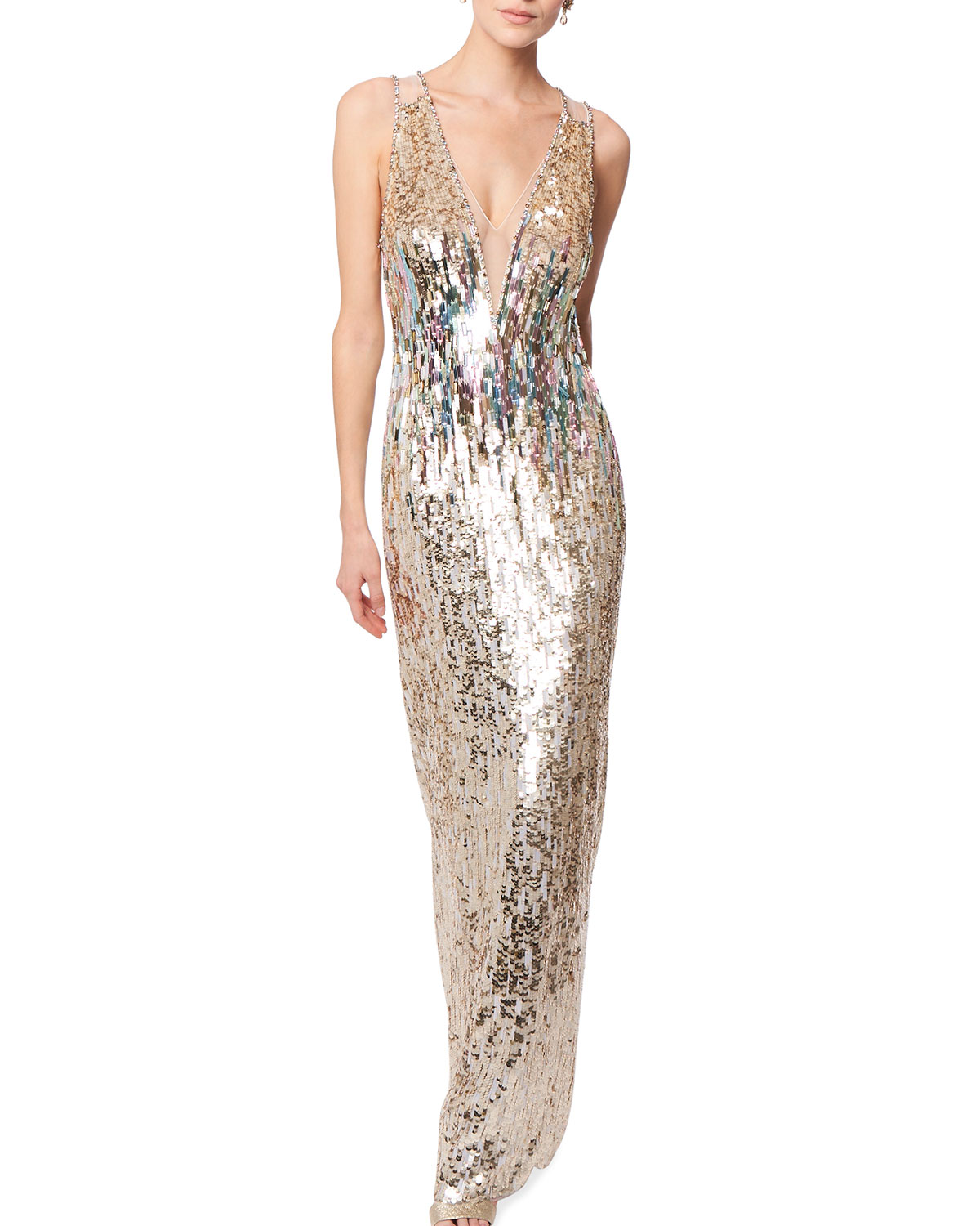 Jenny Packham MULTICOLOR BEADED PLUNGING-NECK SLEEVELESS COLUMN GOWN