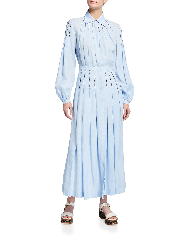 Gabriela Hearst Maxi dresses WATKINS OPEN-STITCH LINEN MIDI DRESS