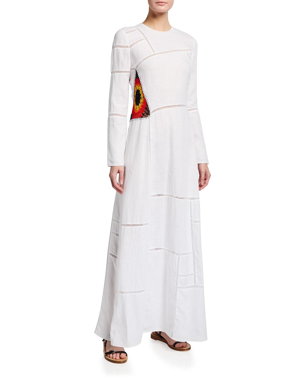 Gabriela Hearst JAIME CROCHET-INSET LINEN MAXI DRESS