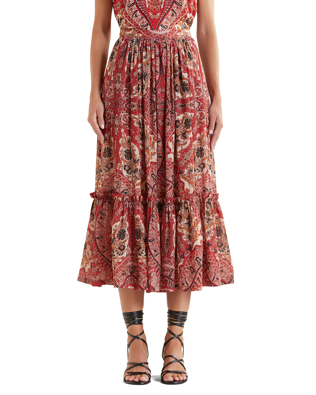 Paisley Cotton Midi Skirt