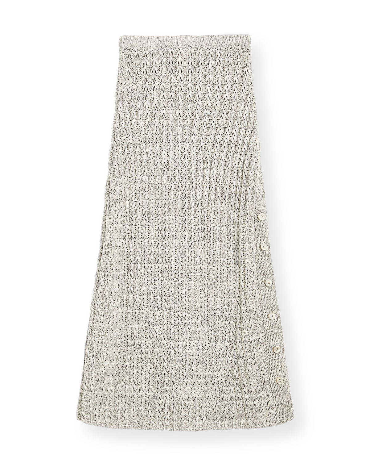 Brock Collection SIDE BUTTON COTTON-BLEND KNIT MIDI SKIRT