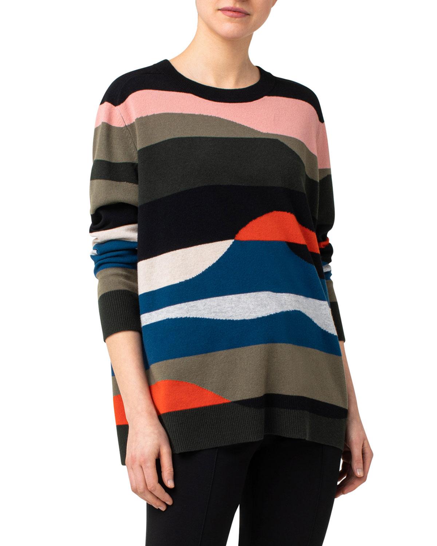 Wool-Cashmere Intarsia Oversized Sweater