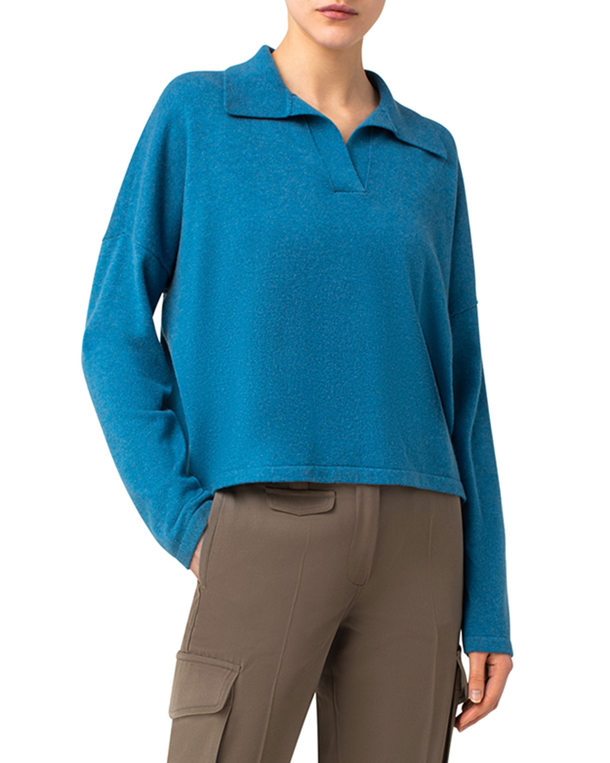 Cashmere Ribbed Polo Top
