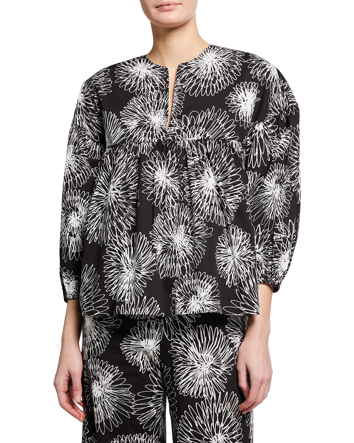 Piazza Sempione Cottons FLORAL-PRINT 3/4-SLEEVE PEPLUM TOP
