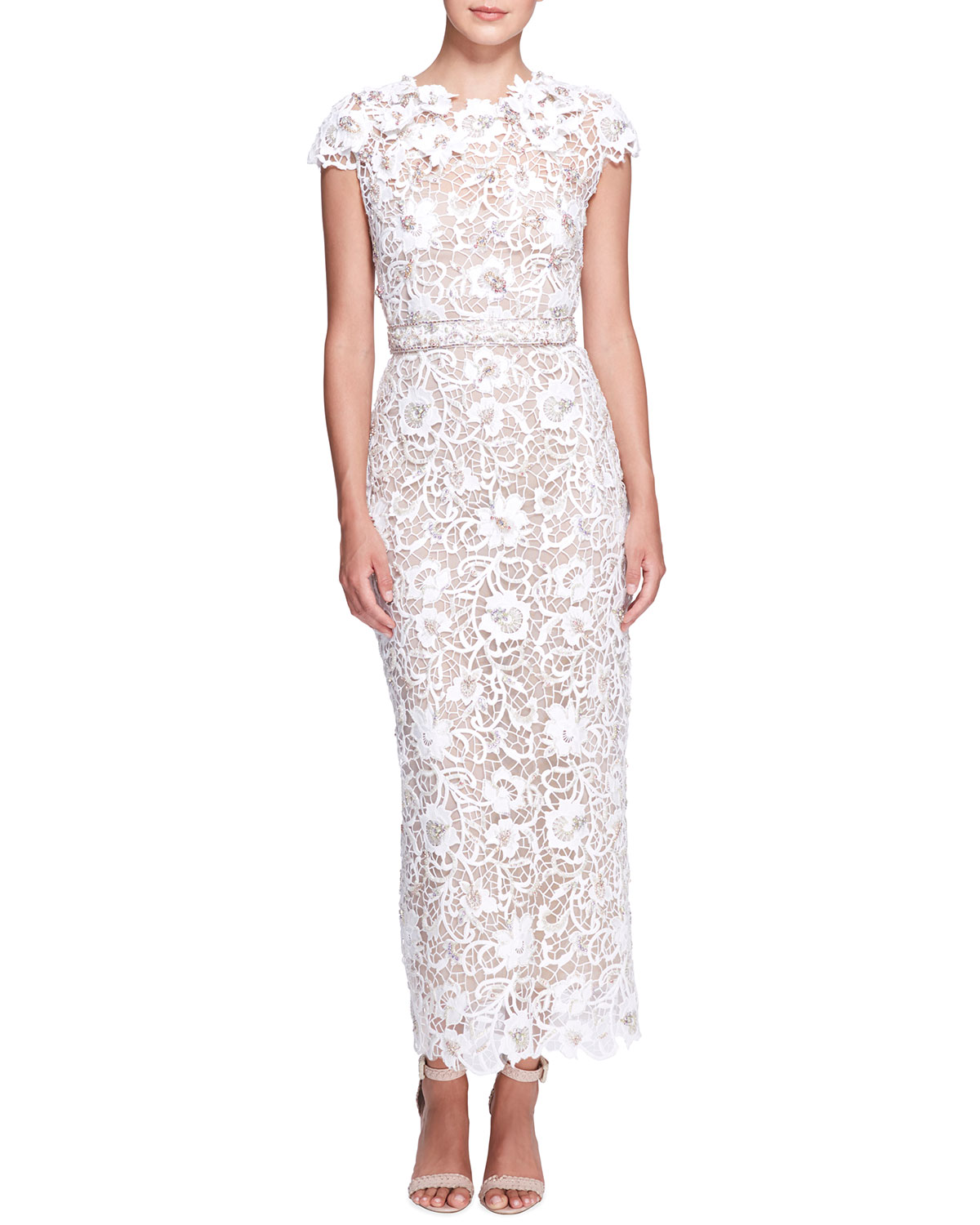 Floral Lace Embroidered Column Gown