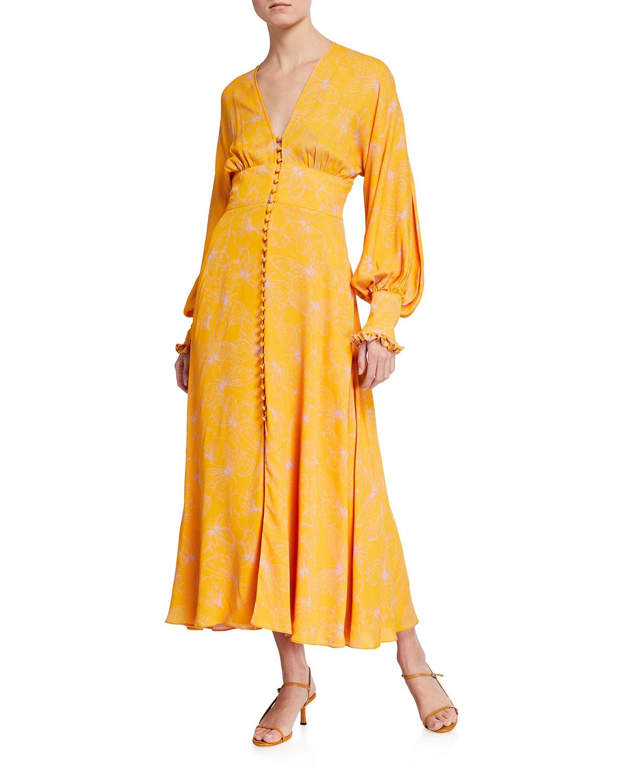 Butterfly-Print Georgette V-Neck Dress