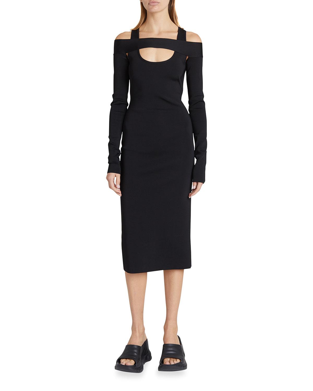 18GG Knit Square-Shoulder Midi Dress