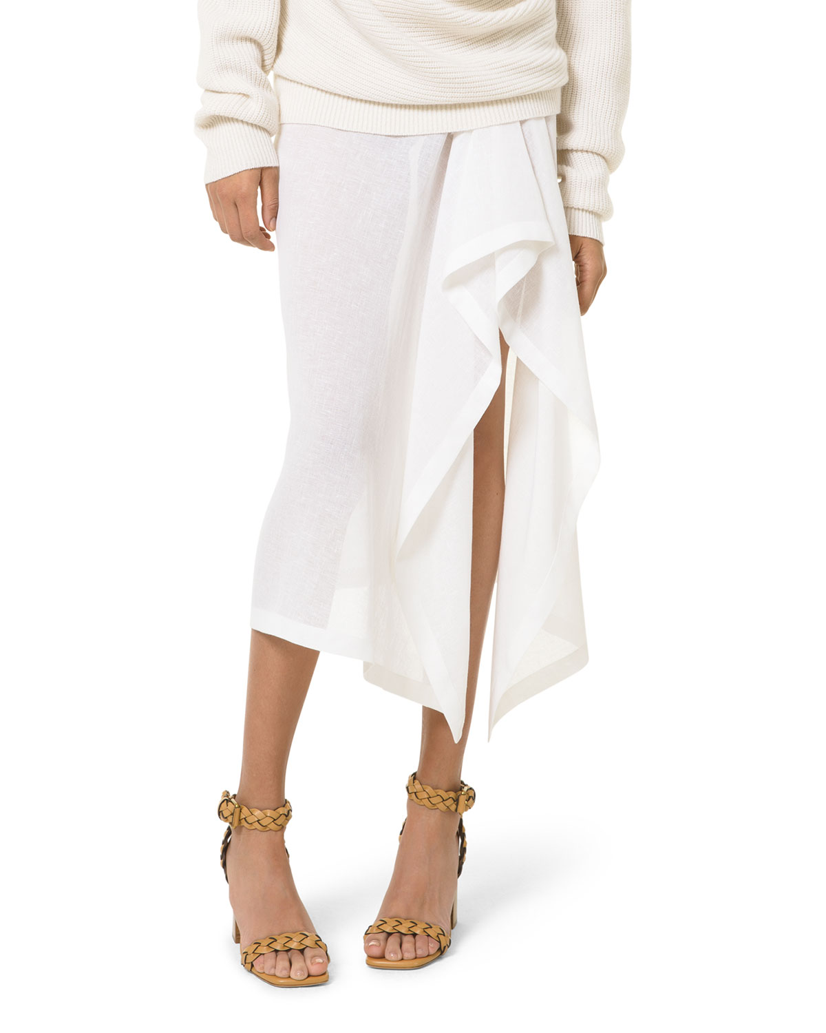 Michael Kors ASYMMETRICAL DRAPED CREPE MIDI SKIRT