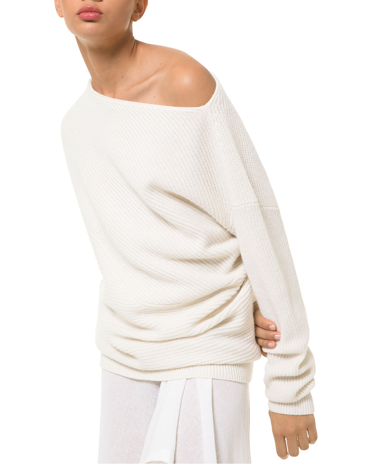 Michael Kors OFF-SHOULDER CASHMERE-BLEND SHAKER SWEATER
