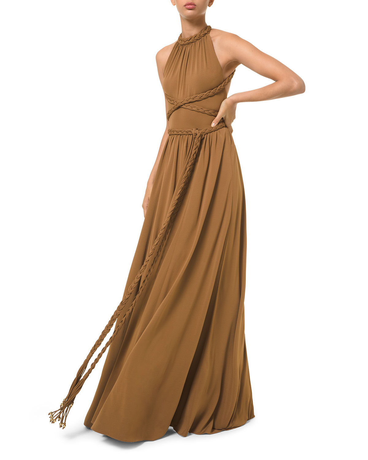 Michael Kors BRAIDED A-LINE HALTER DRESS