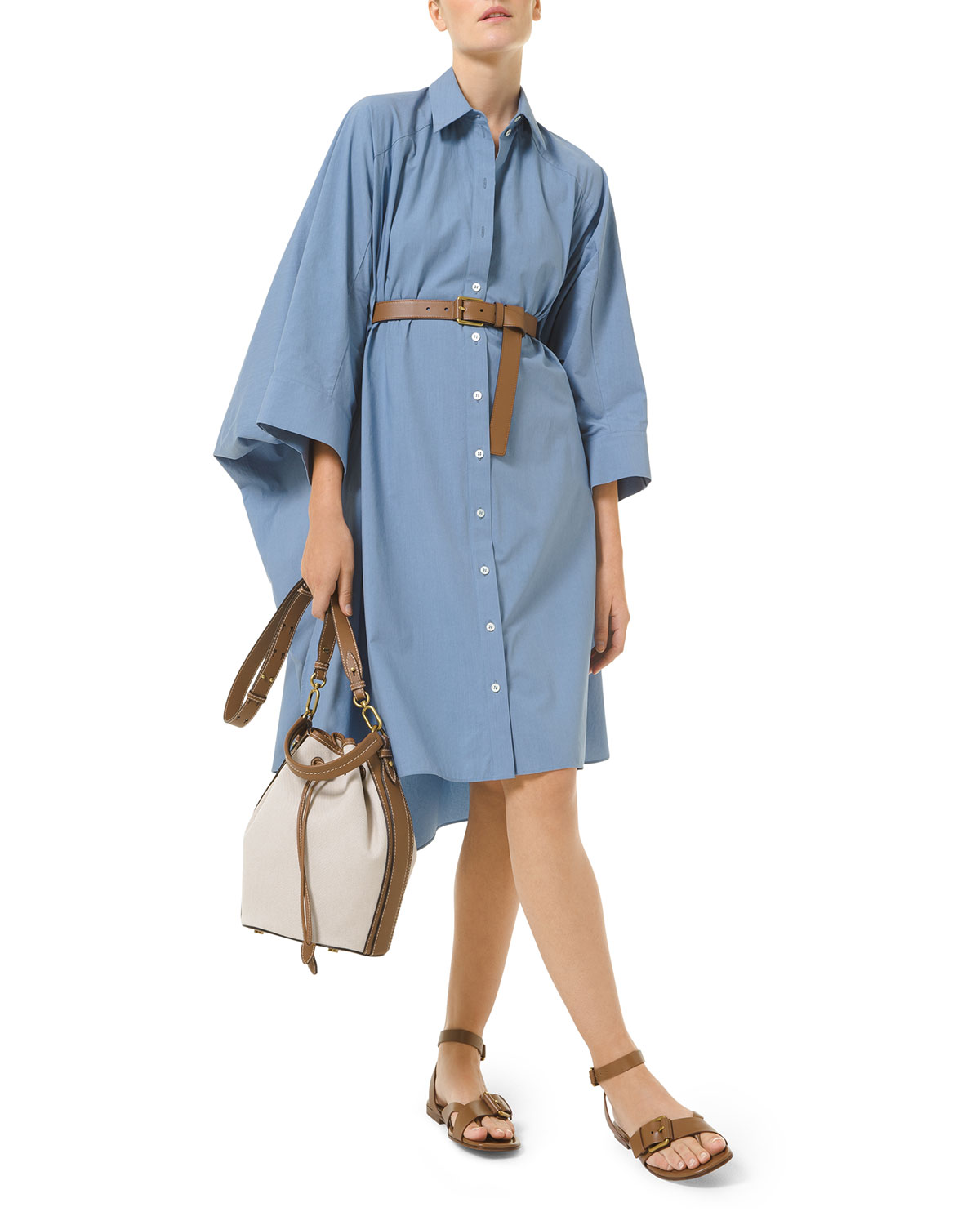 Michael Kors DOLMAN-SLEEVE POPLIN HIGH-LOW SHIRTDRESS