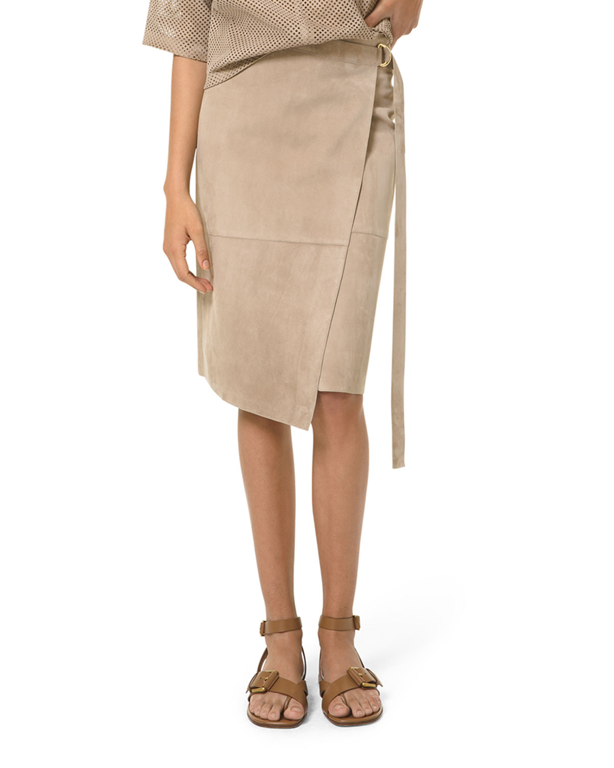 Michael Kors SUEDE BELTED ASYMMETRIC WRAP SKIRT