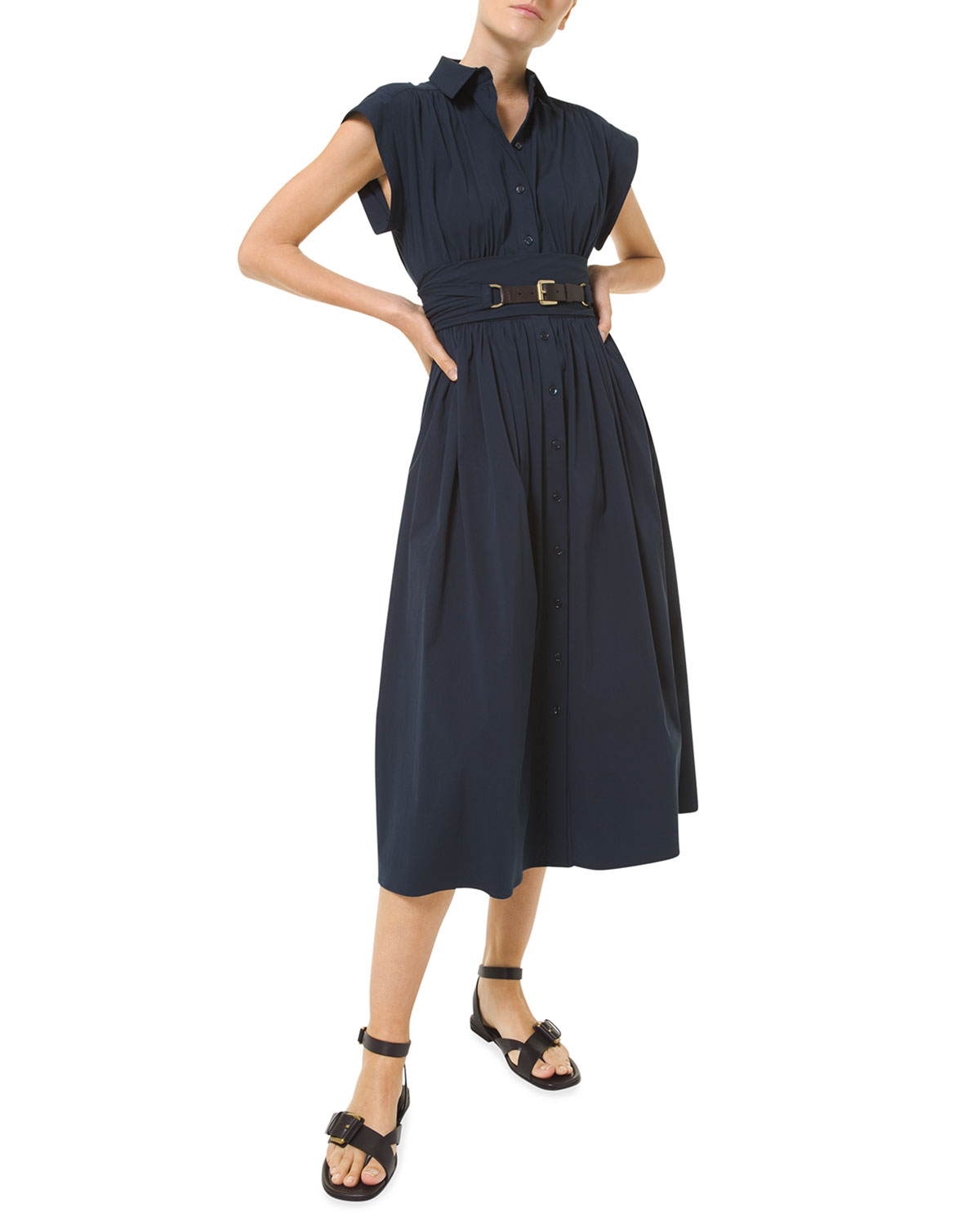 Michael Kors FIT-&-FLARE POPLIN LEATHER BELTED MIDI DRESS