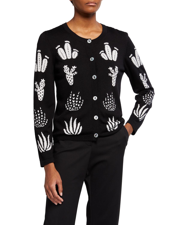 Cactus Intarsia Wool-Blend Cardigan