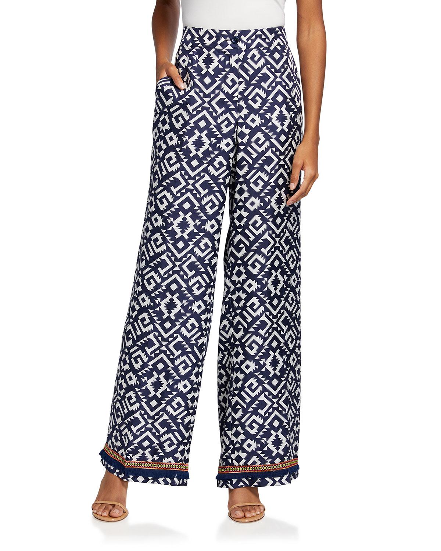 Geometric-Print Wide-Leg Silk Pants