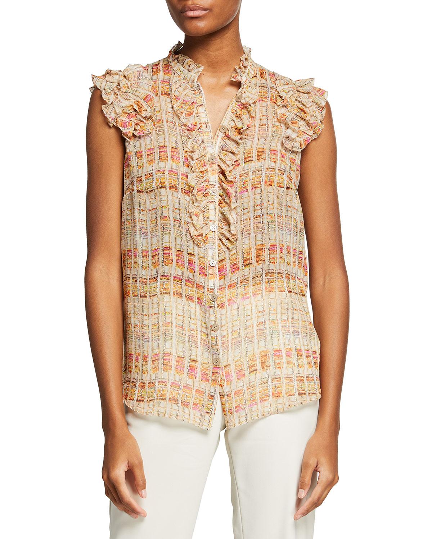 Tweed-Print Silk Ruffle Shell