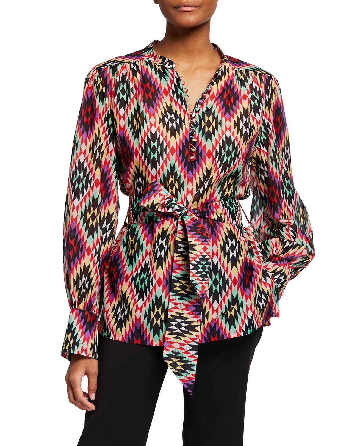 Abstract Printed Belted Cotton Blouse