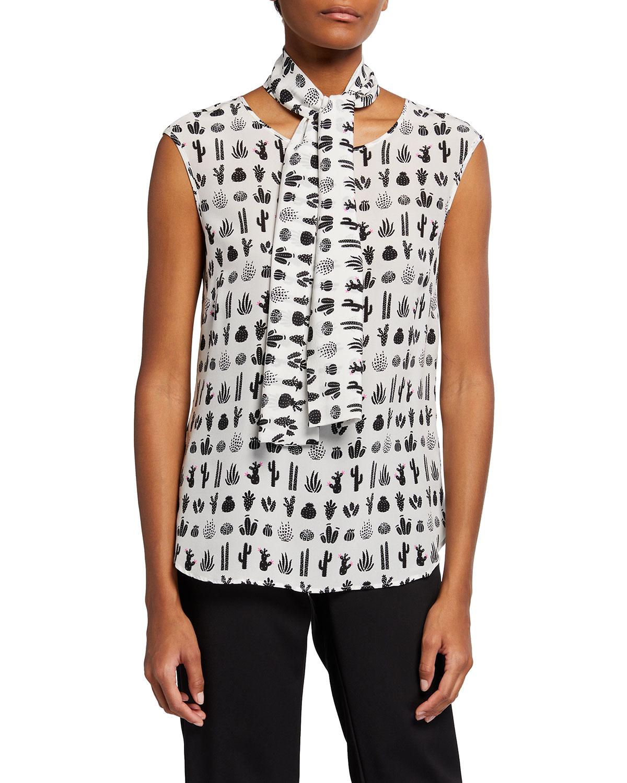 Cactus-Print Shell w/ Detachable Tie