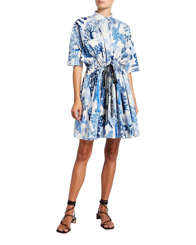 Giambattista Valli FLORAL PRINT DRAWSTRING PLEATED DRESS
