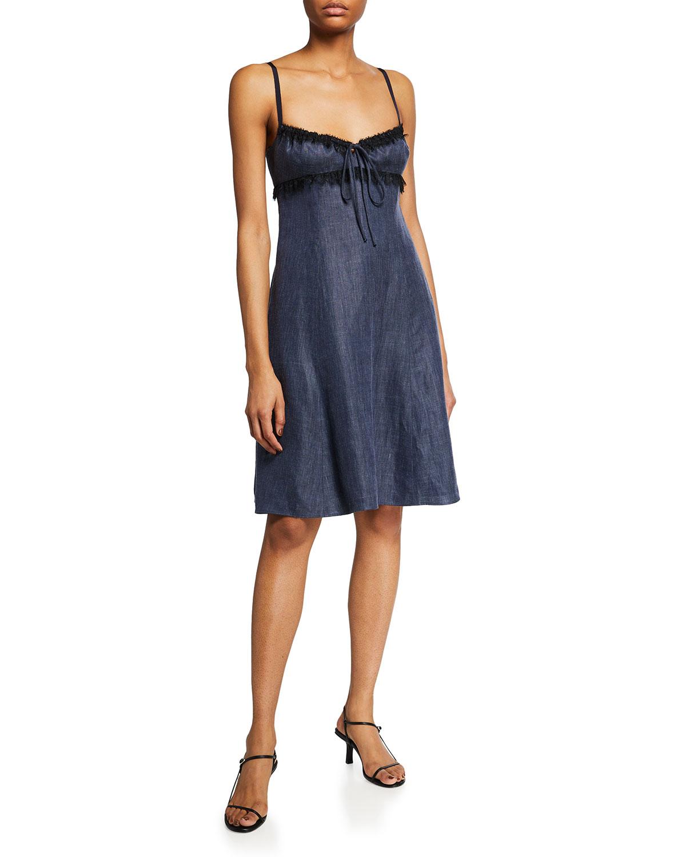 Sleeveless Linen-Blend Day Dress