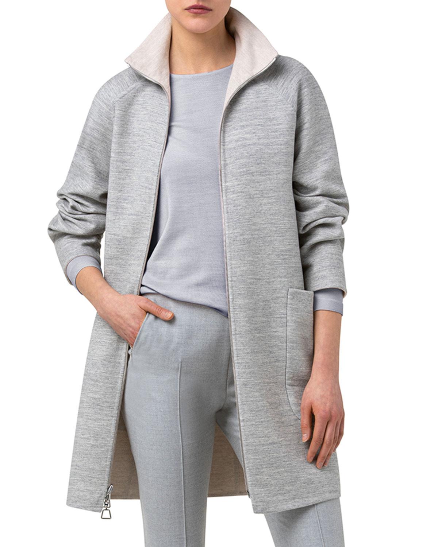Wool-Blend Stand-Collar Coat
