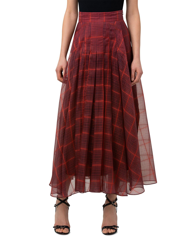 Plaid Organza Long Pleated A-Line Skirt