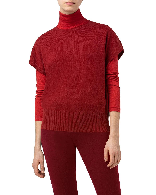 Cap-Sleeve Cashmere Sweater