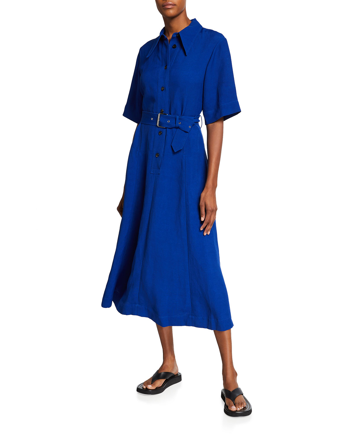 Co BELTED A-LINE MAXI SHIRTDRESS