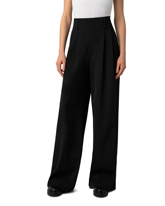 Pintuck Wool Wide-Leg Pants