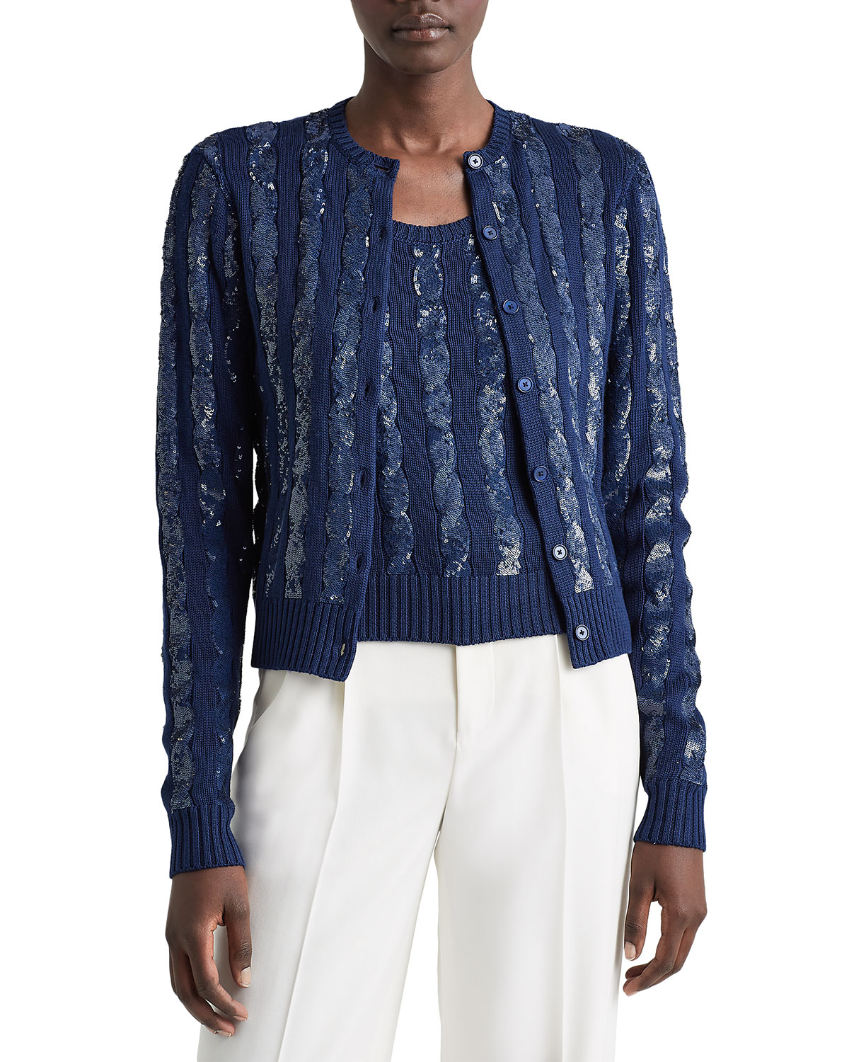 Ralph Lauren SEQUINED SILK CABLE-KNIT SWEATER CARDIGAN