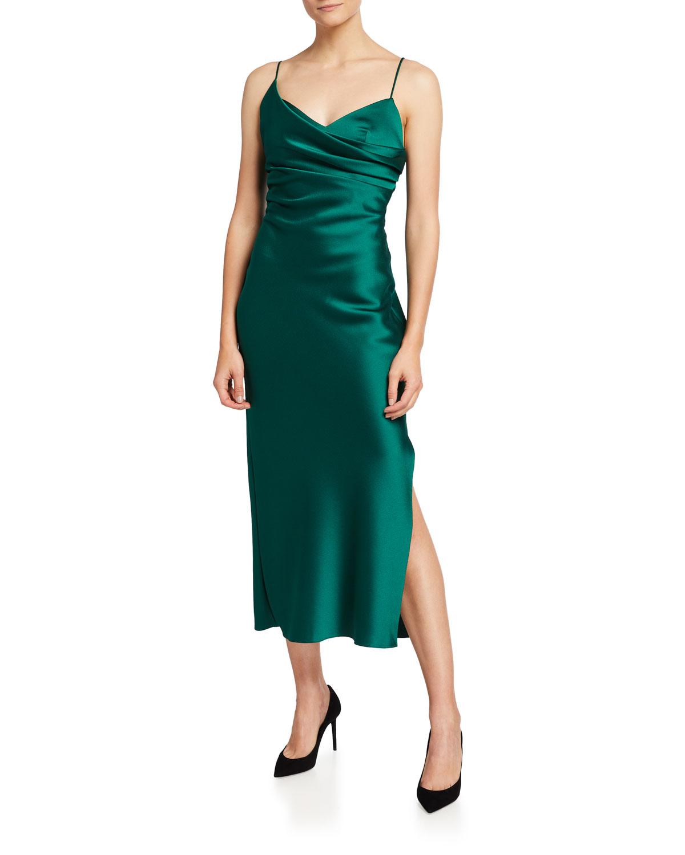 Rasario Midi dresses DRAPED SATIN SLIP MIDI DRESS