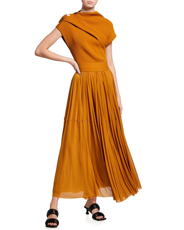 Proenza Schouler CAP-SLEEVE WRAP-NECK LONG DRESS