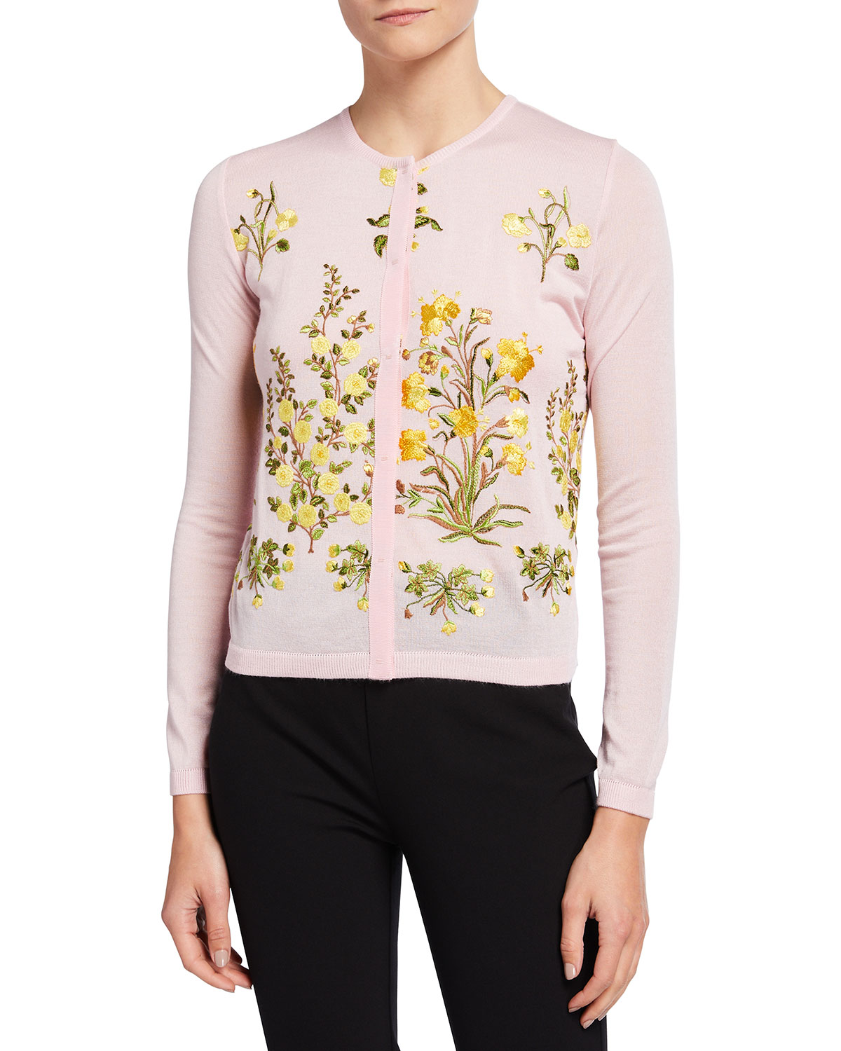 Floral-Embroidered Cashmere-Silk Cardigan