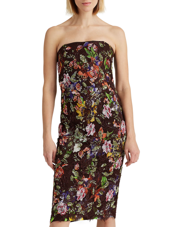 Ralph Lauren KAROLIN STRAPLESS FLORAL SEQUINED LACE DRESS